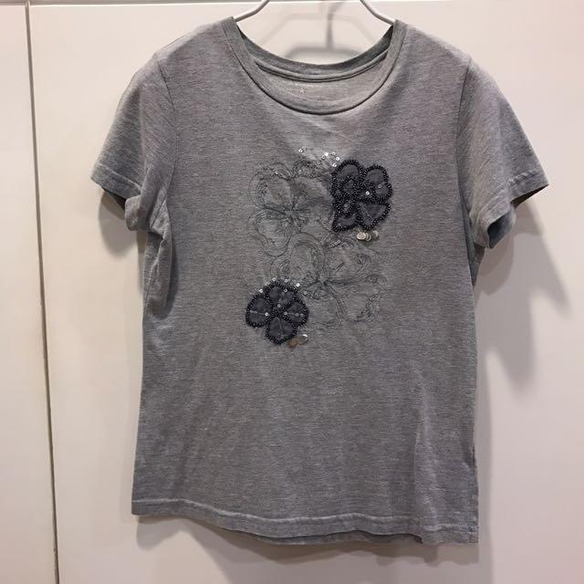 專櫃歐美版型1號 灰色刺繡TEE