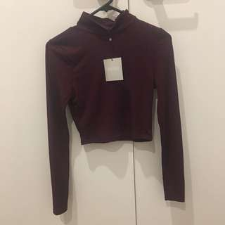 Missguided plum rib crop top bnwt