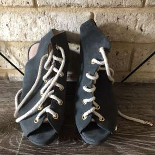 Sportsgirl Faux Suede wedge heels stone grey size 8