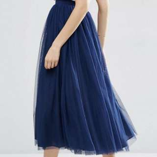 ASOS navy blue Tulle, prom, multilayer, 3/4 length skirt