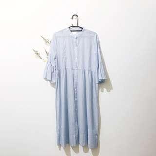 OYSHO 西班牙品牌 ZARA副牌 長版洋裝 甜美睡衣 L 號 淺藍色 / 天藍色