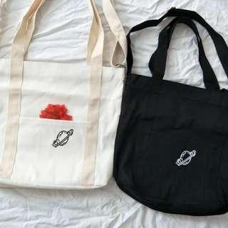 星球韓國休閒布袋大容量單肩斜挎兩用帆布包郵