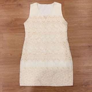 Vintage Beige Eyelet Dress