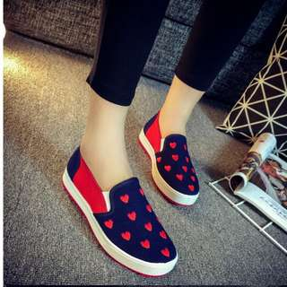 Brand new cute hearts love navy blue covered shoes sneakers