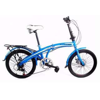 "Folding Bike Extend 20"" Shimano Disc Brakes Gears Blue Free Shipping in All NCR Area Cash On Delivery Nationwide"