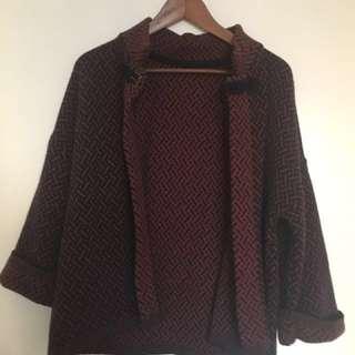 Ladies S/M Cardigan/sweater. Burgundy/navy