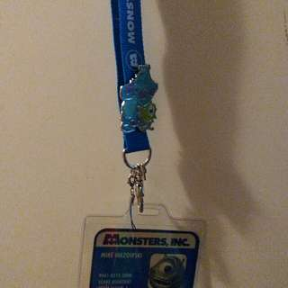 disney pin monster university 有pin 有掛頸證件套