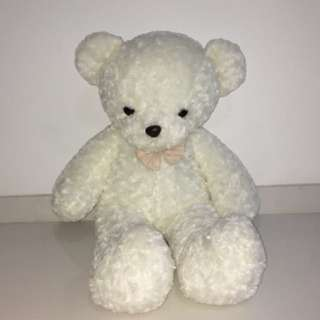 giant 65cm white bear with a bowsoft toy