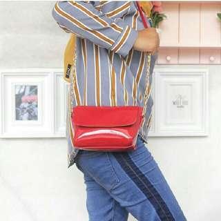 Sling Bag Jelly Chain Merah
