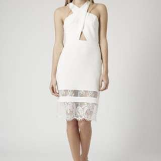 Topshop Halter Cut Out Lace Hem White dress
