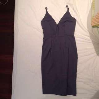 Grey Blue Midi bodycon dress