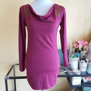 🆓️📫Cowl Neck Bodycon Dress With Studs Free Post