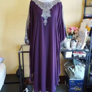 🆓️📫🆕️Purple Kaftan with Silver Thread Embroidery with inner Free Post