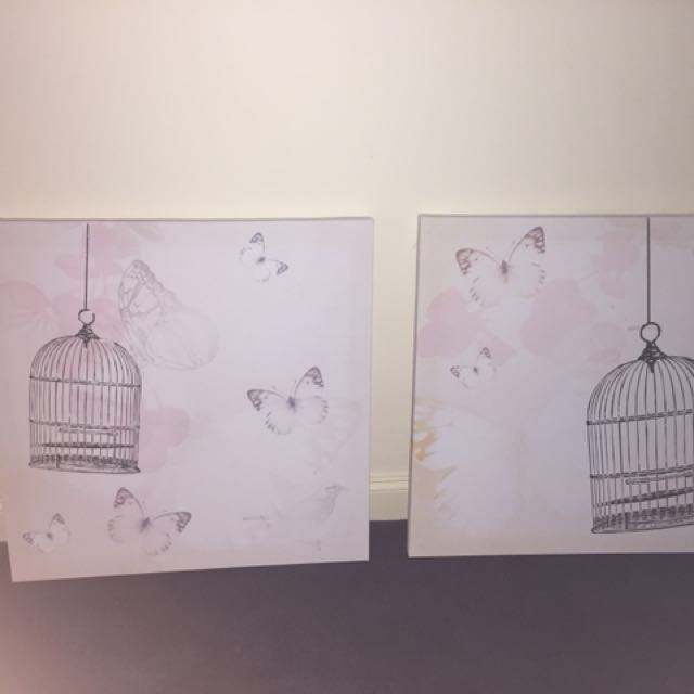 2x canvas butterfly art