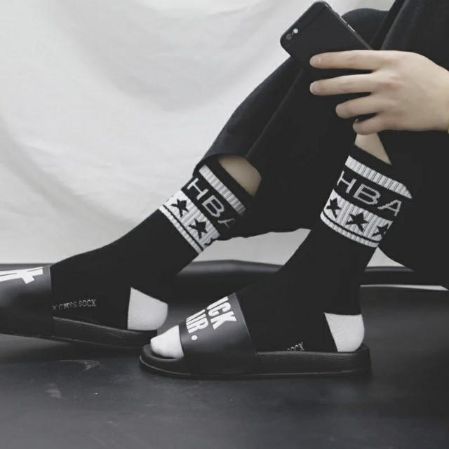 韓國原宿港風潮牌字母運動街頭棉男女長襪