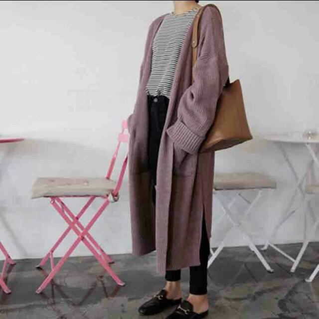 淺紫長版針織外套