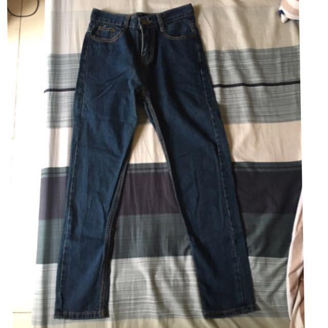 全新*牛仔窄版男友褲