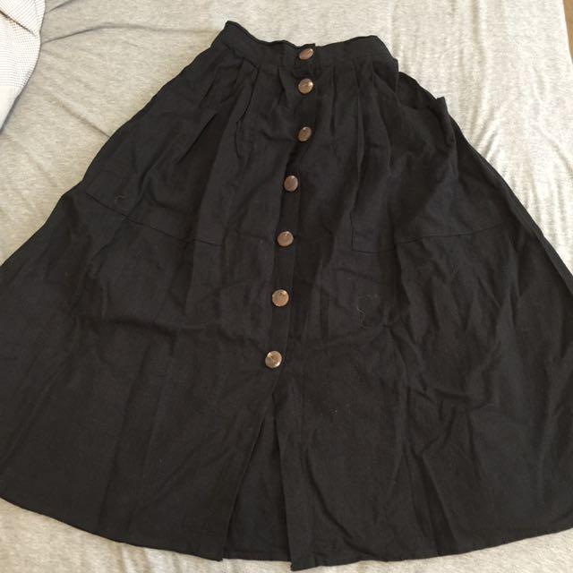 韓國黑色鈕扣圓長裙