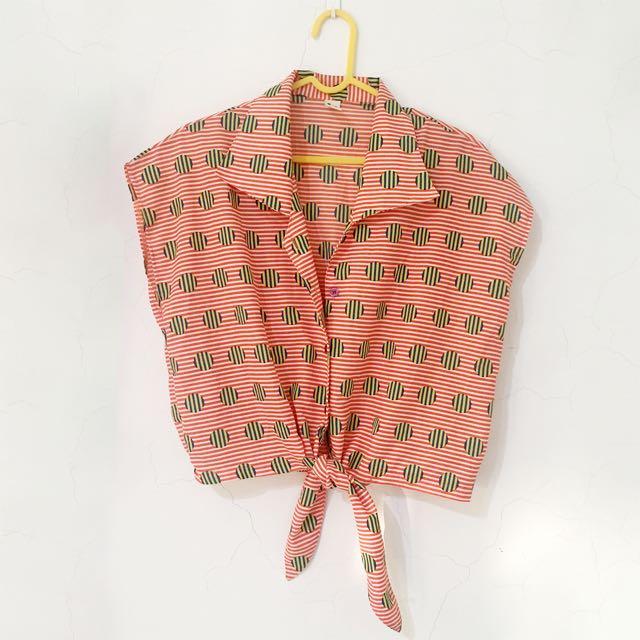 《夏季出清·Summer Sale》繽紛幾何絲質罩衫