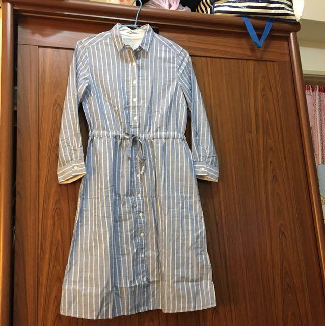 藍白相間條紋綁帶洋裝