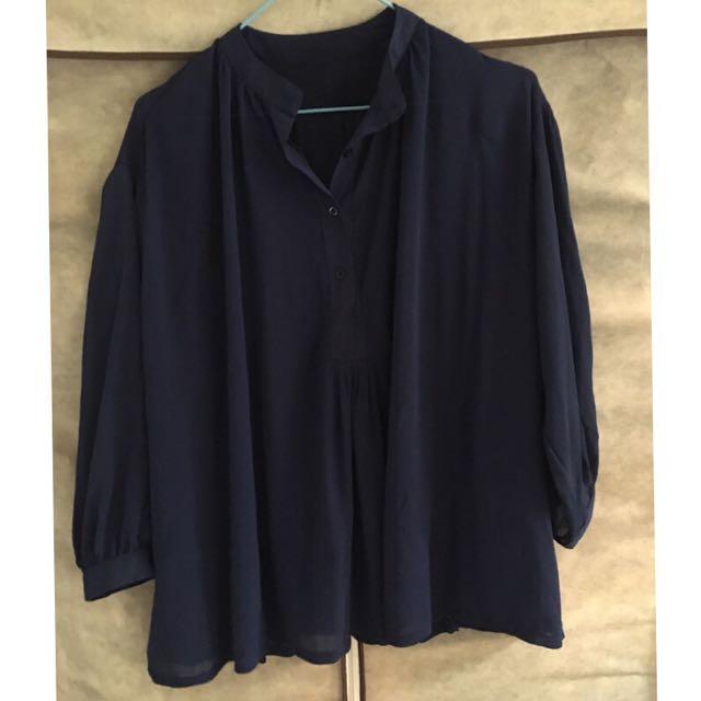 全新-深藍雪紡洋裝
