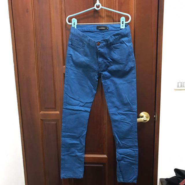韓版藍色素面休閒褲