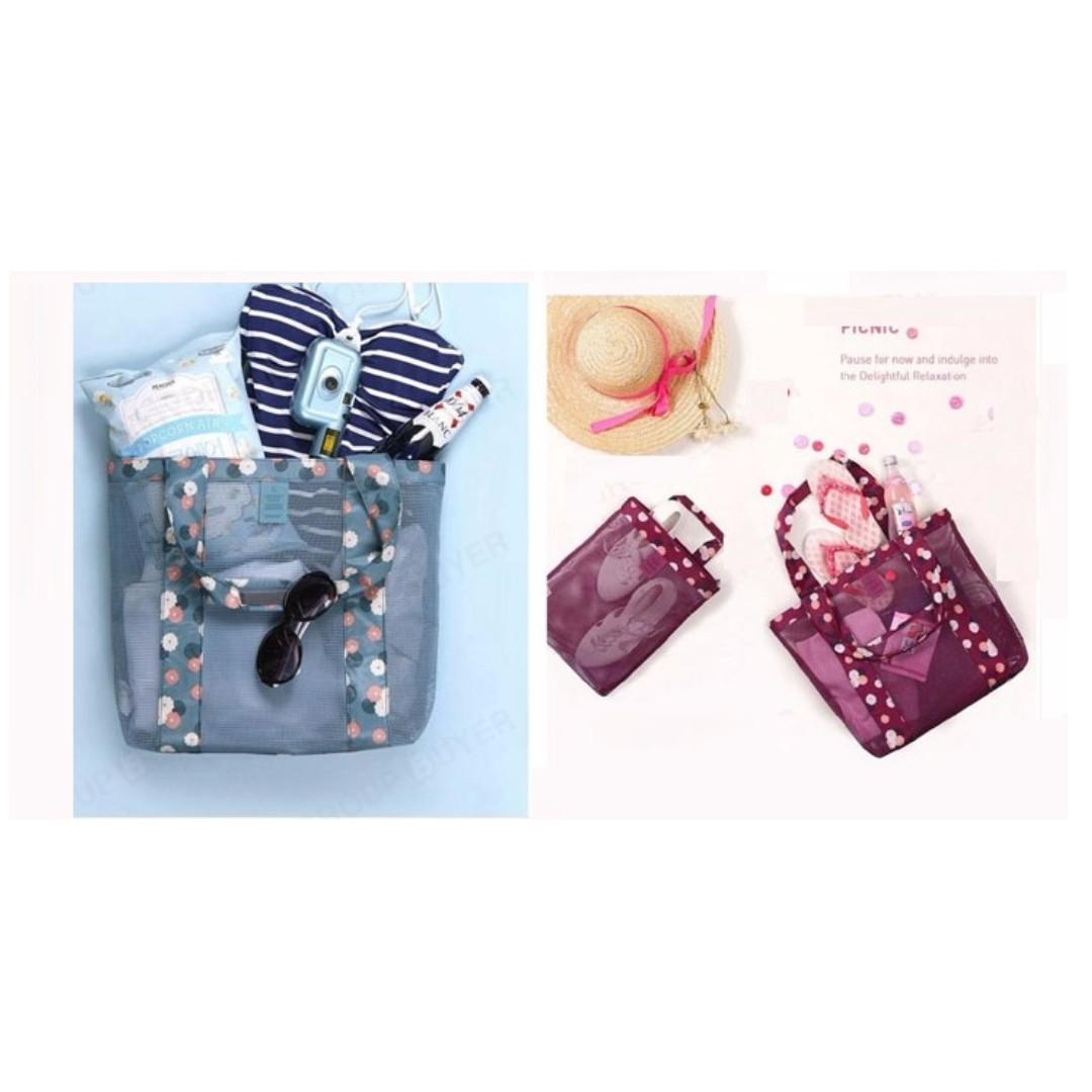 韓式時尚旅行手袋 (藍/紅色)