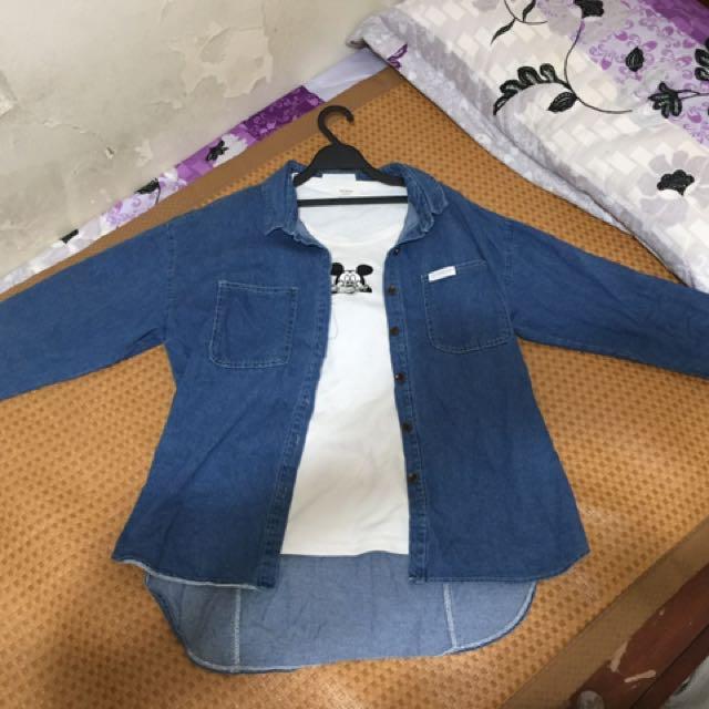 韓版前短後長襯衫領雙口袋寬鬆女牛仔外套 夏秋款