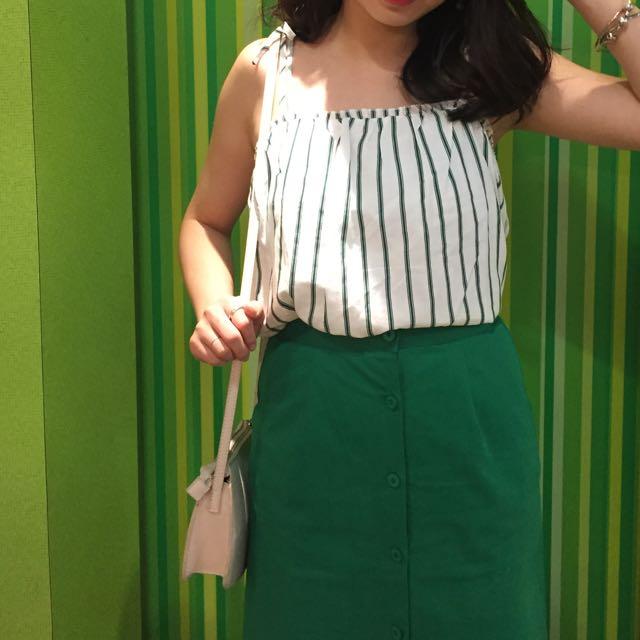 綠白條紋 綁帶上衣