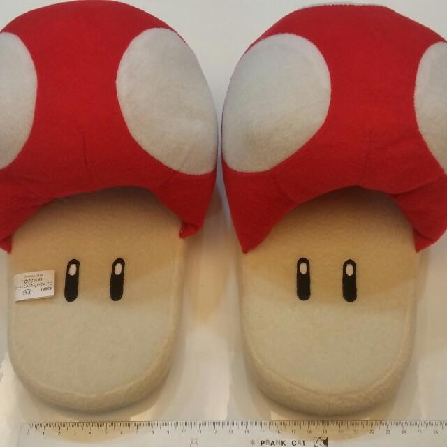 超級瑪利歐 蘑菇人款 保暖室內拖鞋 九成新