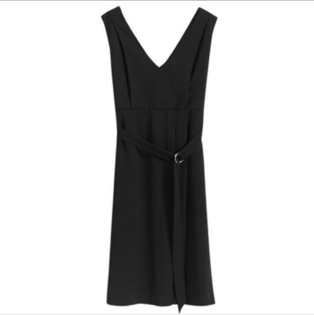 西本 黑色  西裝 開衩洋裝 不易皺西裝材質