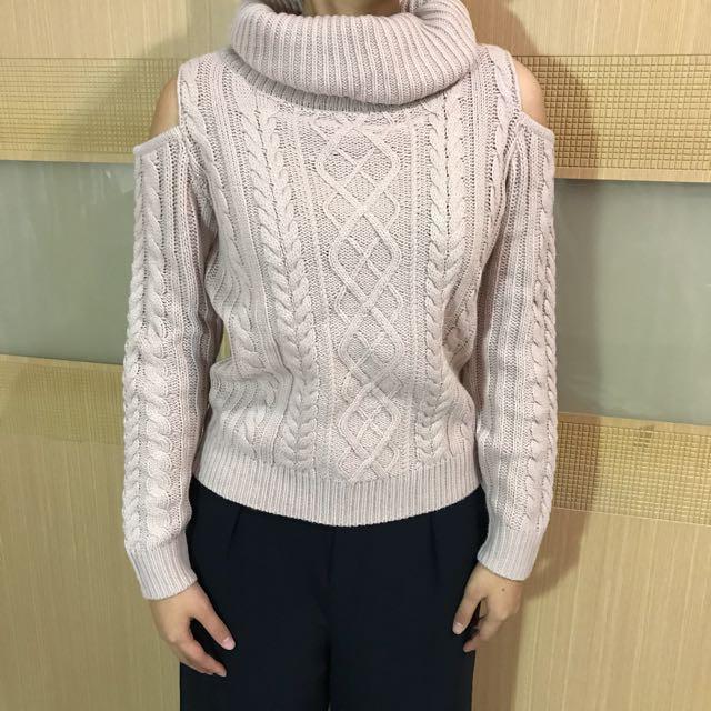 日本 INGNI 針織毛領露肩上衣 毛衣 M    #幫你省運費