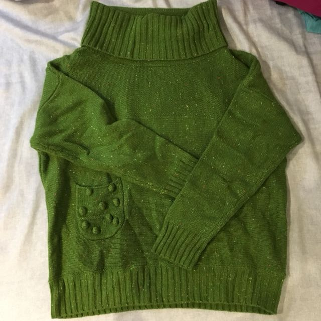 A la sha 翻領綠色針織上衣 S號
