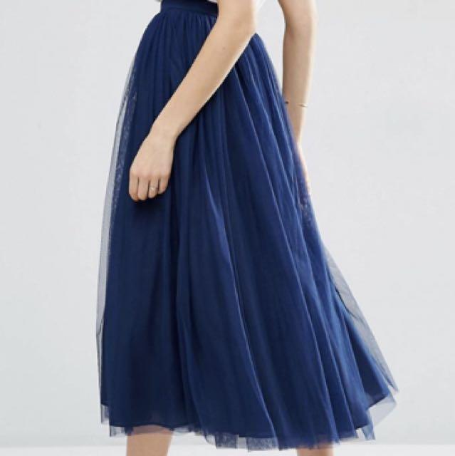 ASOS navy blue Tulle, prom, multilayer, 3/4 length skirt