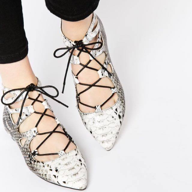 ASOS Snakeskin Lace Up Ankle Flats