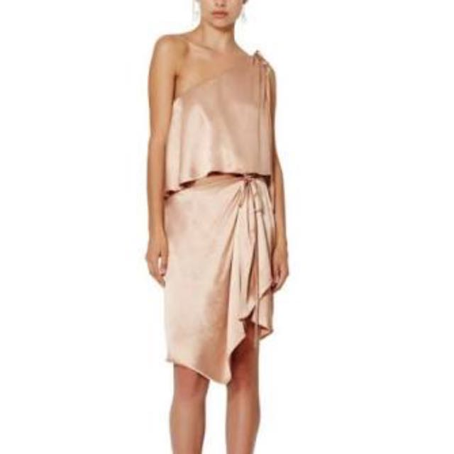 Bec & Bridge- Dahlia Asymmetrical Dress- Blush- size 8/10
