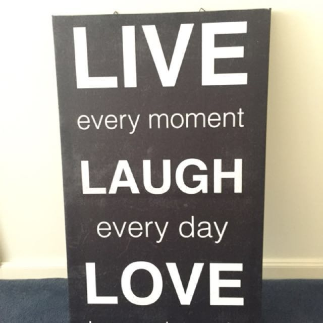 Black and white canvas 'live, laugh, love'