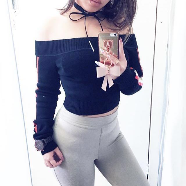 Black Off Shoulder Knit Crop Top