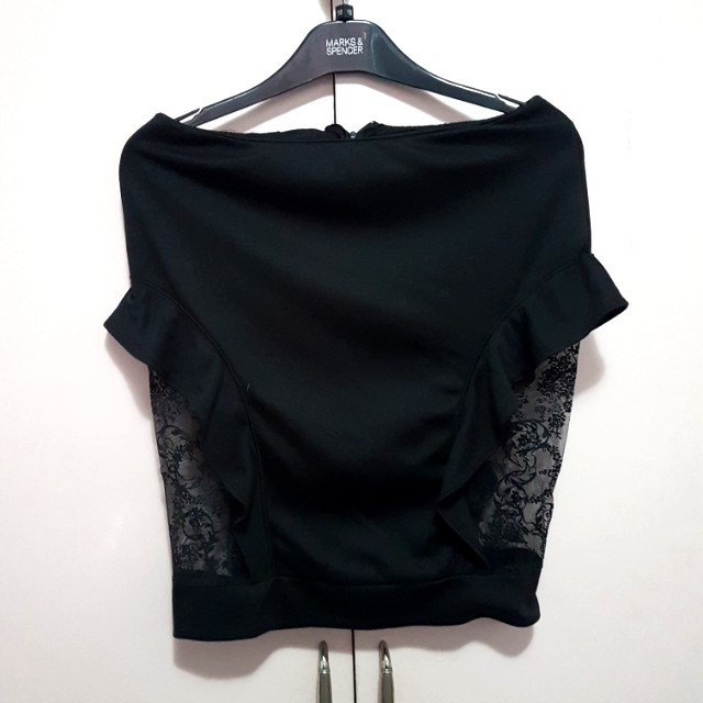 Black pencil skirt with lace and riddle detail