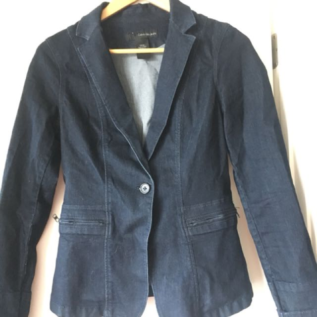 Calvin Klein Jeans elasticated denim blazer size S