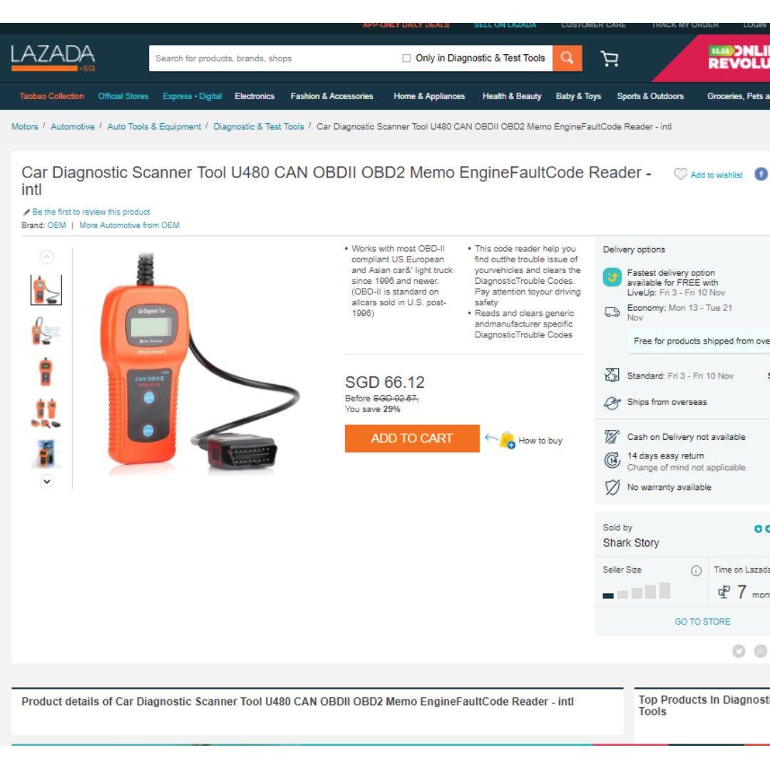 Car Diagnostic Scanner Tool U480 CAN OBDII OBD2 Memo EngineFaultCode Reader  - intl