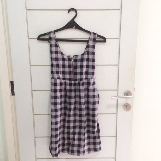 Checkered Monochrome Dress Overall