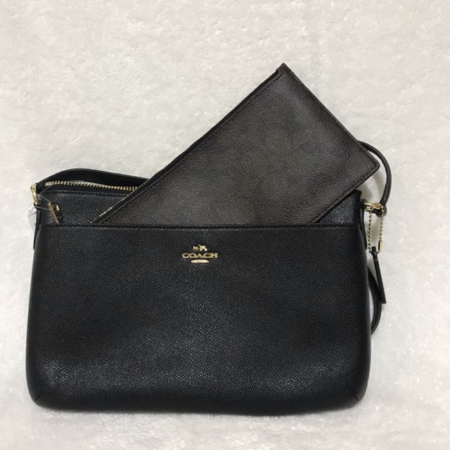 Coach F57788 Black Crossgrain Leather Pop Crossbody Bag With Pouch
