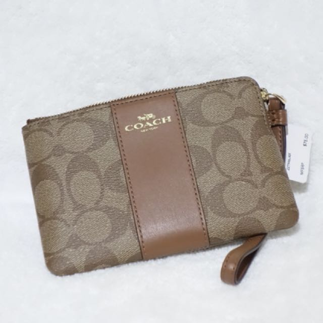 CORNER ZIP WRISTLET IN SIGNATURE COATED CANVAS WITH LEATHER STRIPE COACH F58035