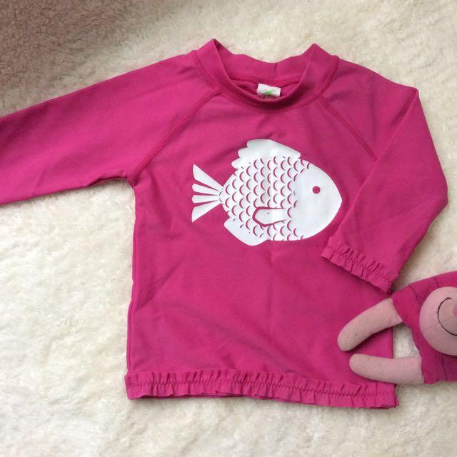 Cotton On pink rashguard 1-2yrs old