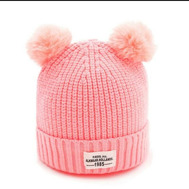 f77c7df2360eb Cute Newborn Toddler Hat Beanies Baby Double Pom Pom Enfant Bonnet ...