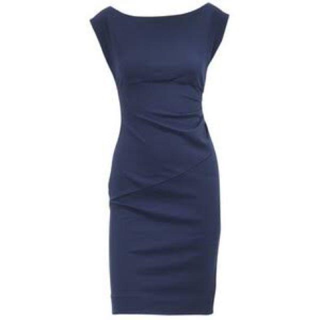 Diane von Furstenberg navy blue office dress
