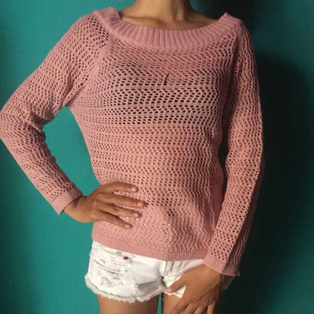 Dusty pink rajut cardigan