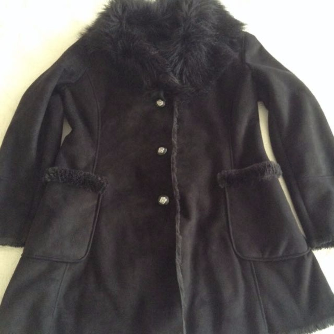 GUESS Faux Suede & Fur Lined Winter Coat