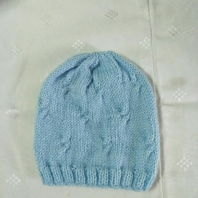 1c76f434d Hand made knitted baby boy hat, with mini cable stiches